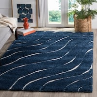 "Safavieh Florida Shag Stripe Dark Blue / Cream Rug - 8'6"" x 12'"