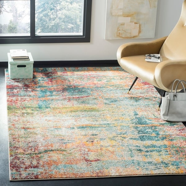 Shop Safavieh Monaco Vintage Geometric Teal / Orange Rug