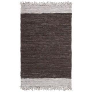 Safavieh Handmade Vintage Leather Contemporary Stripe Light Grey / Dark Brown Rug - 4' x 6'