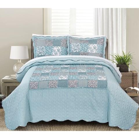 Asher Home Genevieve Floral Patchwork 3-piece Quilt Set