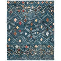Safavieh Hand-Hooked Suzani Bohemian & Eclectic Southwestern Dark Blue Wool Rug - 8' x 10'