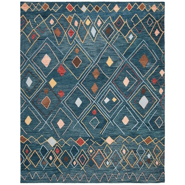 Safavieh Hand-Hooked Suzani Bohemian & Eclectic Southwestern Dark Blue Wool Rug - 8' X 10'