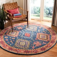 Safavieh Handmade Heritage Traditional Oriental Navy / Red Wool Rug - 6' x 6' Round