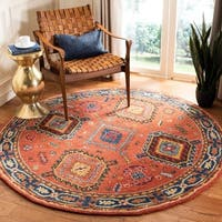 Safavieh Handmade Heritage Traditional Oriental Rust / Navy Wool Rug - 6' x 6' Round