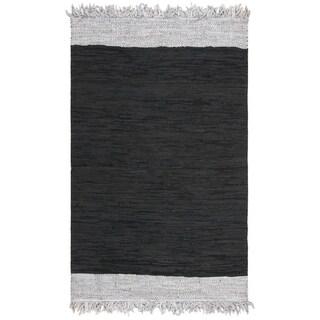 Safavieh Handmade Vintage Leather Contemporary Stripe Light Grey / Black Rug - 4' x 6'