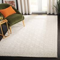 Safavieh Handmade Blossom Contemporary Floral Grey / Ivory Wool Rug - 4' x 6'