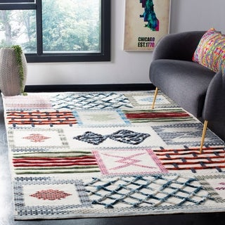 Safavieh Hand-Knotted Kenya Patchwork Ivory Wool Rug - 6' X 9'