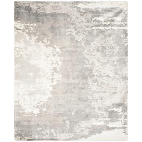 Safavieh Handmade Tibetan Modern & Contemporary Silver/ Ivory Viscose Rug - 6' x 9'
