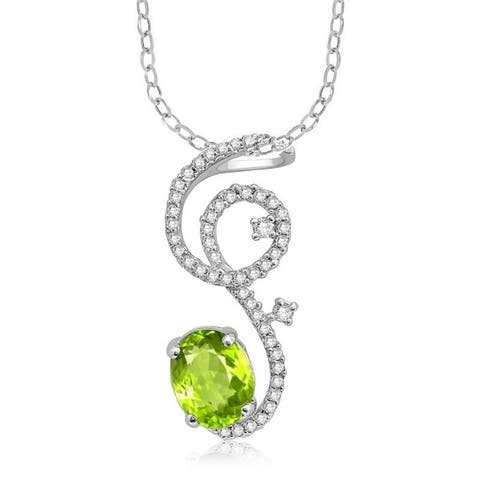 Sterling Silver with Natural Peridot and White Topaz Swirl Pendant with 18'' Chain