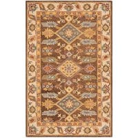 Safavieh Handmade Antiquity Traditional Oriental Dark Brown / Ivory Wool Rug - 6' x 9'