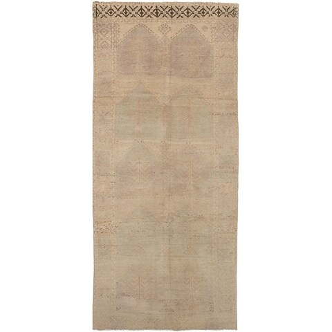 eCarpetGallery Hand-knotted Antalya Vintage Light Khaki Wool Rug - 5'2 x 12'1