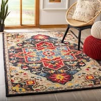 Safavieh Handmade Aspen Bohemian Southwestern Charcoal / Cream Wool Rug - 8' x 10'