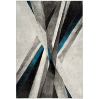 Safavieh Hollywood Contemporary Abstract Grey / Teal Rug - 9' x 12'