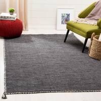 Safavieh Handmade Montauk Contemporary Geometric Grey / Black Cotton Rug - 8' x 10'