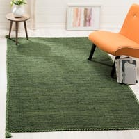 Safavieh Handmade Montauk Contemporary Geometric Green / Black Cotton Rug - 8' x 10'