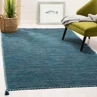 Safavieh Handmade Montauk Contemporary Geometric Blue / Black Cotton Rug - 8' x 10'