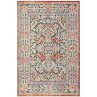 Safavieh Provance Transitional Oriental Black / Aqua Cotton Rug - 9' x 12'