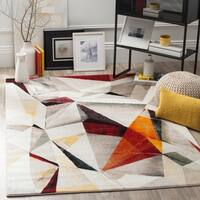 Safavieh Porcello Contemporary Geometric Light Grey / Orange Rug - 9' x 12'