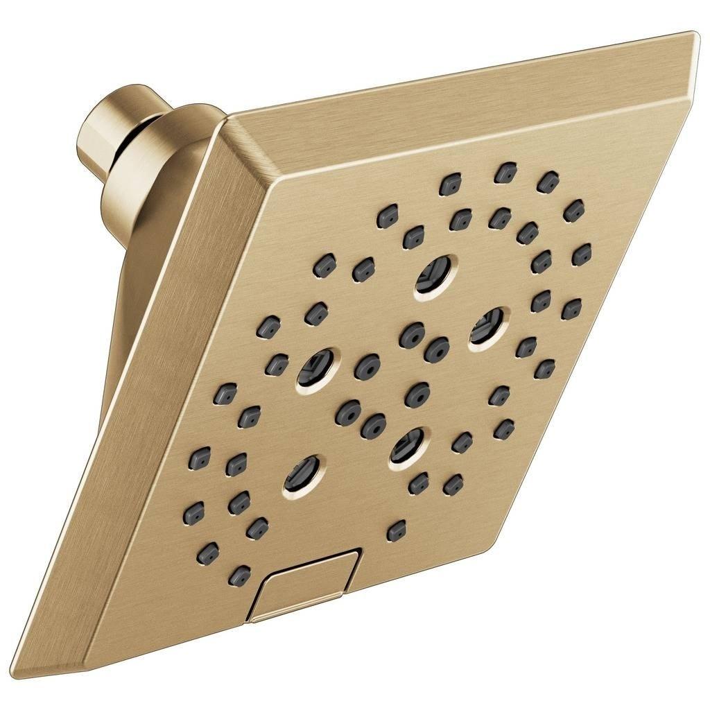 Delta Universal Showering H2okinetic 5 Setting Angular Modern Raincan Shower Head 52664 Cz Champagne Bronze