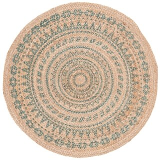 Safavieh Handmade Natural Fiber Valentien Casual Jute Rug (3 x 3 Round - Aqua/Natural)