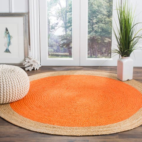 Safavieh Handmade Natural Fiber Contemporary Geometric Orange / Natural Jute Rug - 9' x 9' Round