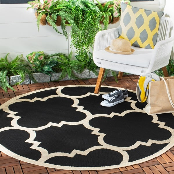 Shop Safavieh Courtyard Quatrefoil Black Beige Indoor