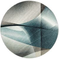 """Safavieh Hollywood Contemporary Abstract Grey / Teal Rug - 5'3"""" x 5'3"""" round"""