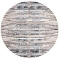 """Safavieh Meadow Contemporary Abstract Grey / Light Grey Polyester Rug - 6'7"""" x 6'7"""" round"""
