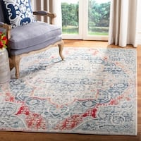 Safavieh Merlot Bohemian & Eclectic Oriental Grey / Navy Polyester Rug - 6' x 6' Square