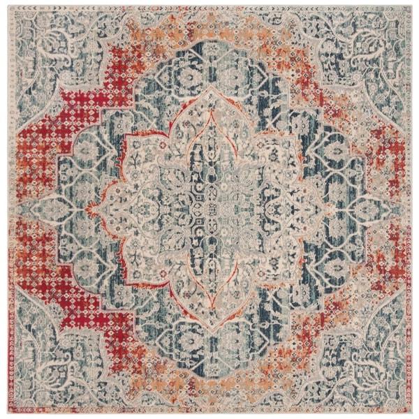 Safavieh Merlot Bohemian & Eclectic Oriental Grey / Navy Polyester Rug - 6' x 6' Square