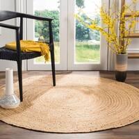 Safavieh Handmade Natural Fiber Contemporary Geometric Natural / Natural Jute Rug - 9' x 9' Round