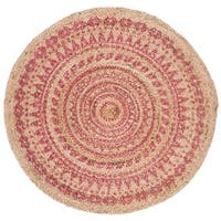 Safavieh Handmade Natural Fiber Contemporary Geometric Pink / Natural Jute Rug - 4' x 4' Round