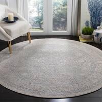 Safavieh Reflection Contemporary Oriental Light Grey / Cream Polyester Rug - 5' x 5' round