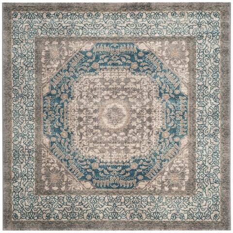 Safavieh Sofia Vintage Oriental Light Grey / Blue Rug - 3' x 3' square