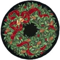 Safavieh Hand-Hooked Vintage Poster Vintage Black / Green Wool Rug - 4' x 4' Round