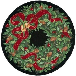 Safavieh Hand-Hooked Vintage Poster Vintage Geometric Black / Green Wool Rug - 4' x 4' Round