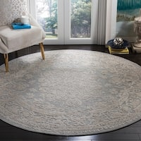 Safavieh Reflection Contemporary Oriental Light Grey / Cream Polyester Rug - 5' x 5' round