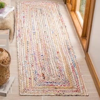 "Safavieh Handmade Cape Cod Boho Braided Beige/ Multi Cotton Rug - 2'3"" x 10'"