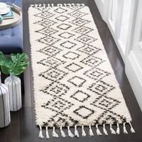 "Safavieh Moroccan Fringe Shag Contemporary Geometric Cream / Charcoal Rug - 2'3"" x 9'"