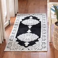 "Safavieh Hand-woven Marbella Ornate Black/ Ivory Chenille Rug - 2'3"" x 6'"