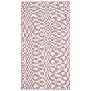 Safavieh Handmade Flatweave Montauk Eliina Casual Cotton Rug (23 x 6 Runner - Ivory/Purple)