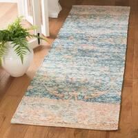 "Safavieh Handmade Safran Contemporary Southwestern Turquoise / Peach Cotton Rug - 2'3"" x 12'"