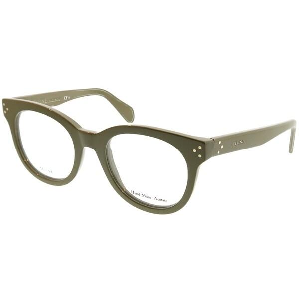 17cd2cc8d726 Shop Celine Round CL 41302 EL0 Unisex Green Frame Eyeglasses - On ...