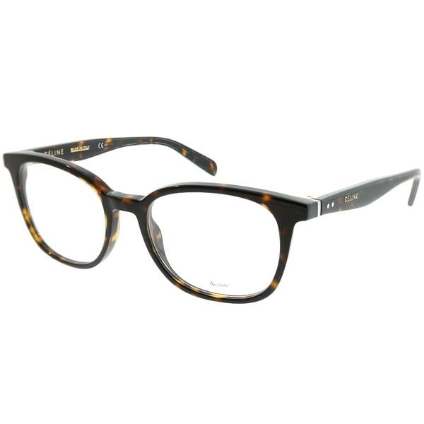 05139967444 Celine Square CL 41346 Thin Squared 086 Unisex Dark Havana Frame Eyeglasses
