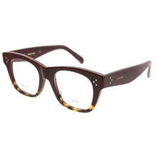 Celine Square CL 41367/F Cathrine Small Asian Fit AEV Unisex Burgundy Havana Frame Eyeglasses
