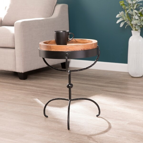Strick & Bolton Tenille Round Accent Table with Serving Tray