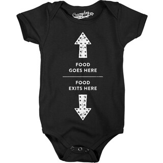 Food Enters Here Food Exits Here Funny Baby Creeper Bodysuit for Newborns in Black