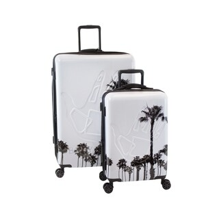 Body Glove Redondo 2-Piece Hardside Luggage Set White / Palm Trees