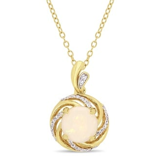 Miadora Yellow Plated Sterling Silver Opal White Topaz and Diamond Swirl Halo Necklace