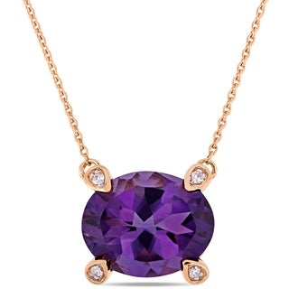 Miadora 10k Rose Gold Oval-Cut African-Amethyst and Diamond Accent Station Necklace